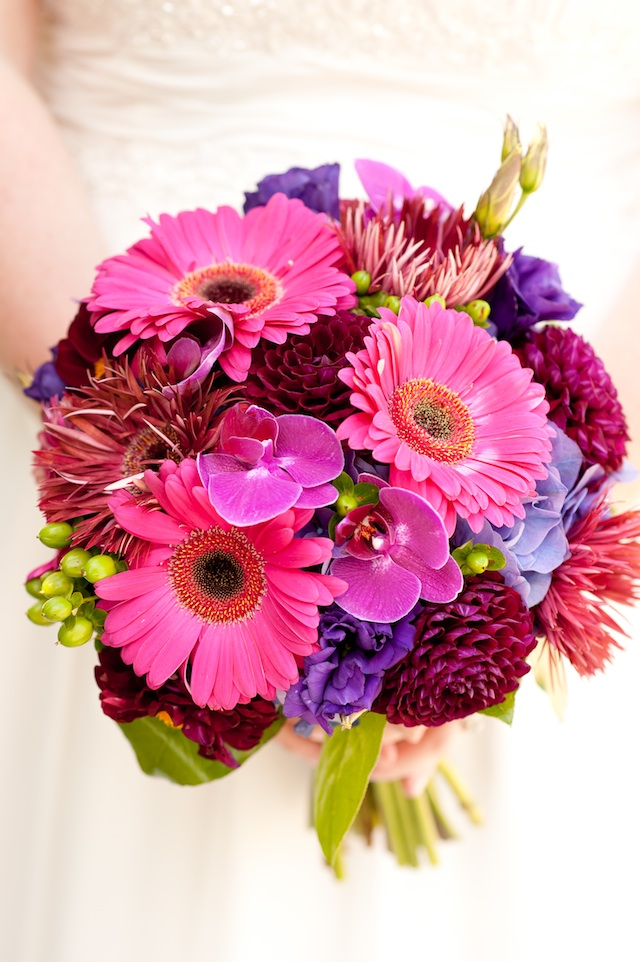 bright colored floral bouquets, fuchsia, orange, yellow