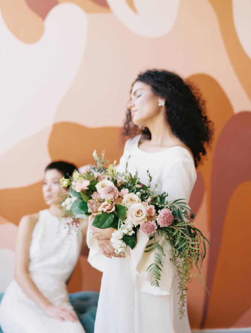 Rose and ivory wedding bouquet: Bold 70's wedding inspiration featured on Nashville Bride Guide!